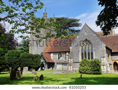 English Village Church and Tower with Clock