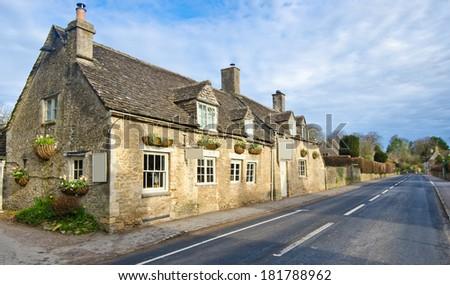 english village road - stock photo