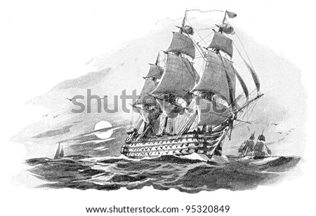 English warship (Nelson Victory) / vintage illustration from Meyers Konversations-Lexikon 1897 - stock photo