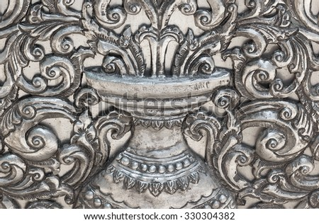 Engraved metal oriental texture and pattern background,  Thai Silver engraving. - stock photo