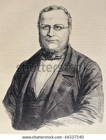 Engraved portrait of Camillo Benso di Cavour, leading figure in Italian unification movement. Original, after drawing by Hofer, was  published on L'Illustration, Journal Universel, Paris, 1860 - stock photo