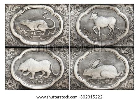 Engraving of the silver value, Zodiac symbol of thai traditional - stock photo