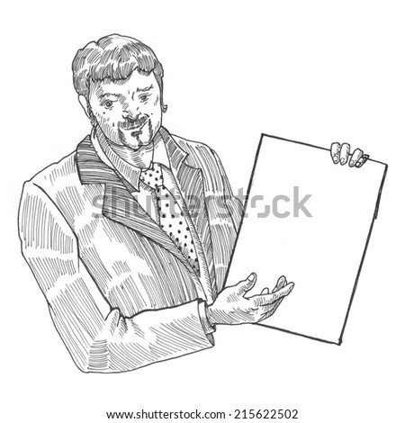 Engraving style hatching pen pencil painting illustration man holds empty sheet of paper image. Engrave hatch lithography drawing collection.