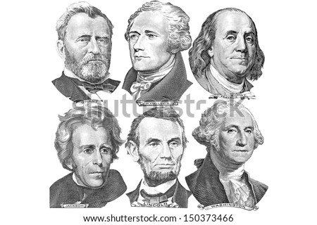 Engravings of portraits of six presidents with U.S. dollar bills - stock photo