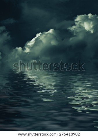 enigmatic nightly clouds over the water