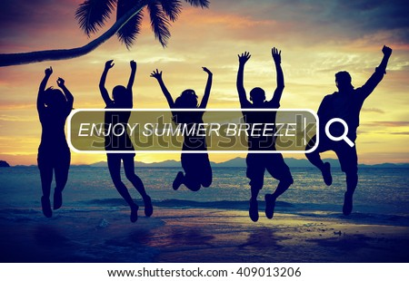 Enjoy Beach Summer Happiness Searching Box Concept - stock photo