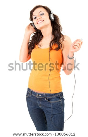 enjoy music young woman in headphones, white background