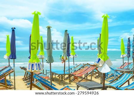 Enjoy on the beach. - stock photo