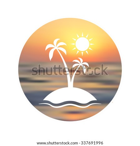 Enjoy the summer. Silhouette of palm tree on blurred unfocused sunset background. Illustration with sun, sea, palm and sky. - stock photo