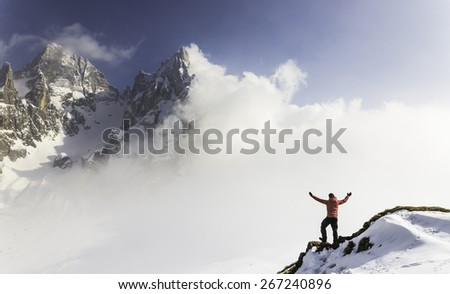 enjoy the winter landscape - stock photo