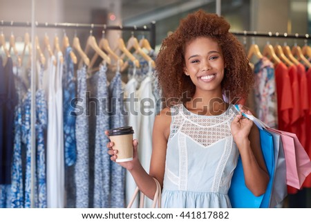Enjoying a day of coffee and shopping - stock photo