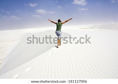 Enjoying dunes - White Sand Dunes National - stock photo