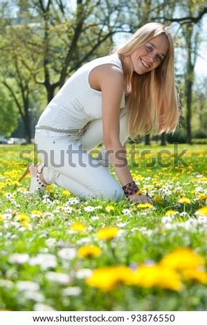 Enjoying life - smiling young woman - stock photo