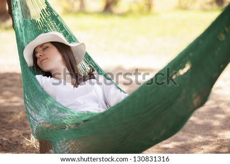 Enjoying my outdoor vacation - stock photo