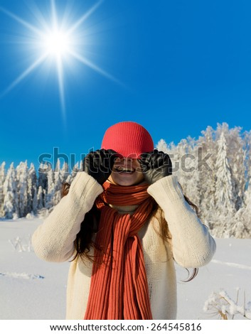 Enjoying the Snow Outdoor Season Fashion  - stock photo