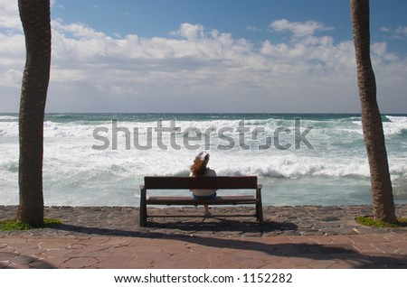 Enjoying the view - stock photo