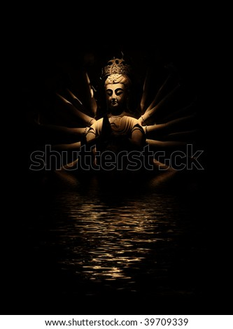 Enlightened Buddha and reflection in rippled water - stock photo