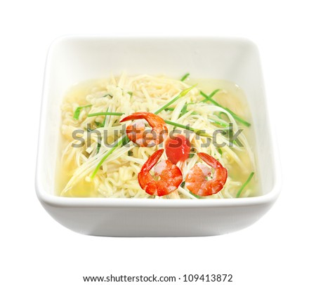 Enoki Mushroom Soup with shrimp, noodle and chives - stock photo