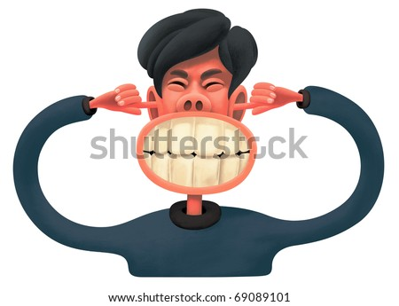 Enormous Sound. Man with suffering face expression is grinding teeth. He stuffed up his ears with fingers. - stock photo
