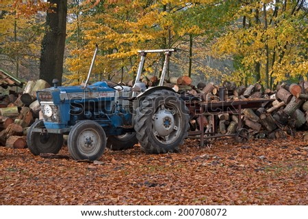 Enschede, The Netherlands: November 2, 2009 - tractor on the estate of the family De Welle Blijdenstein in Twente, Netherlands