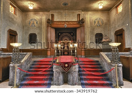 ENSCHEDE, THE NETHERLANDS - 08 SEPT, 2011 - Interior of the synagogue in Enschede, this synagogue is one of the most impressive of the country