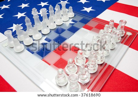 ensign of the USA and chessmen