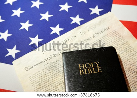 ensign of the USA with Declaration of Independence and Bible