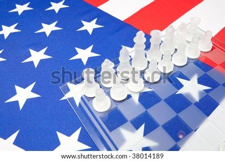 ensign of the USA with declaration of independence and chessmates
