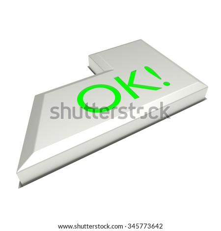 Enter key button, OK sign, on white background. - stock photo
