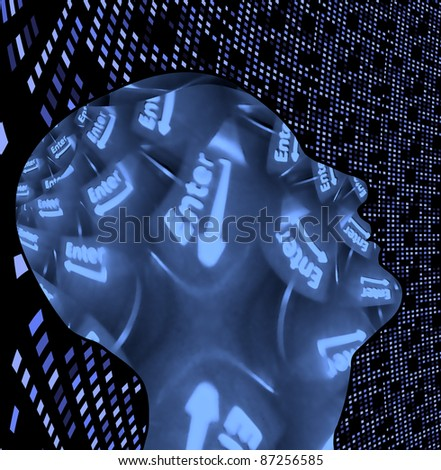 Enter key mind - stock photo