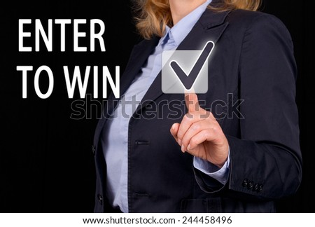 Enter to win - Businesswoman with checkbox and text - stock photo