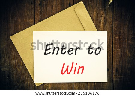 Enter to win concept. - stock photo