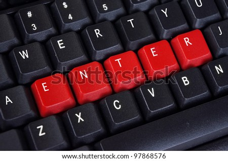 enter word on black keyboard and red button