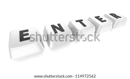 ENTER written in black on white computer keys. 3d illustration. Isolated background. - stock photo
