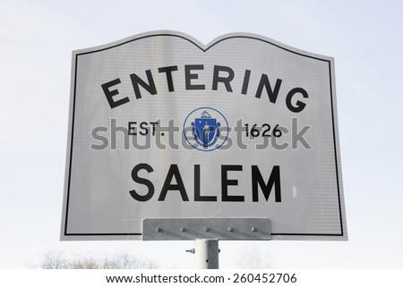 Entering Salem Road Sign, Massachusetts, USA, 03.16.2014 - stock photo