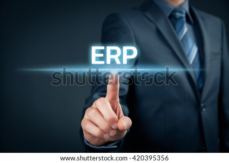 Enterprise resource planning ERP concept. Businessman click on ERP business management software for collect, store, manage and interpret business data.
