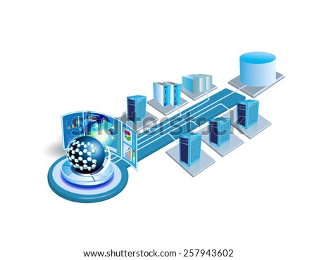 Enterprise System integration architecture, This image illustrates various enterprise, legacy, database systems and applications are connected each other in a data center and Monitor Hardware, network - stock photo