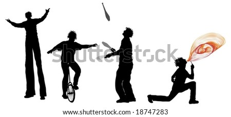 Entertainer Silhouettes (juggler, Unicyclist, fire breather and stilt walker) - stock photo