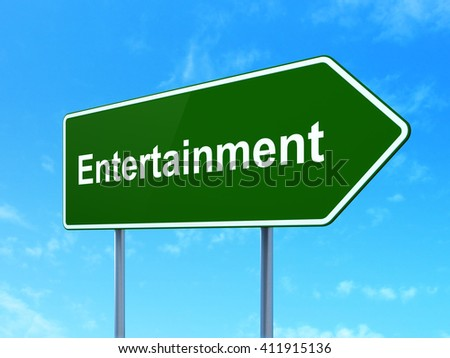 Entertainment, concept: Entertainment on green road highway sign, clear blue sky background, 3D rendering