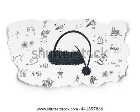 Entertainment, concept: Painted black Christmas Hat icon on Torn Paper background with  Hand Drawn Holiday Icons - stock photo