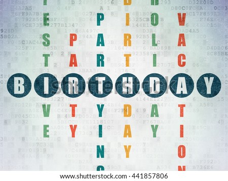 Entertainment, concept: Painted blue word Birthday in solving Crossword Puzzle on Digital Data Paper background - stock photo