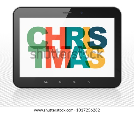 Entertainment, concept: Tablet Pc Computer with Painted multicolor text Christmas on display, 3D rendering