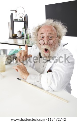 Enthusiastic eccentric senior scientist in his lab, points up excited about ideas. High key, vertical, copy space. - stock photo