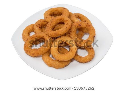 Entire plate of onion rings over white background - stock photo