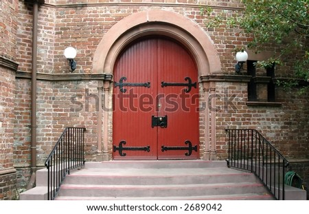 Entraceway to building in charleston historic district - stock photo