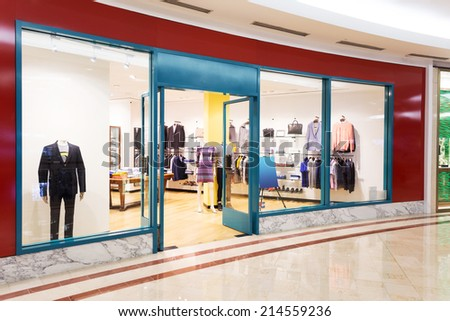 entrance and display window of store - stock photo