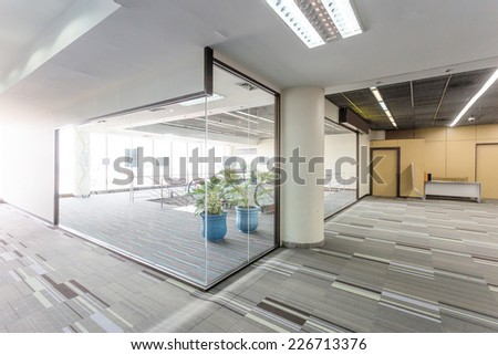 entrance  and escalator  - stock photo