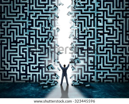 Entrance business solution concept as a businessman opening a maze or labyrinth creating a doorway with glowing light as a metaphor for opportunity and solving a problem. - stock photo