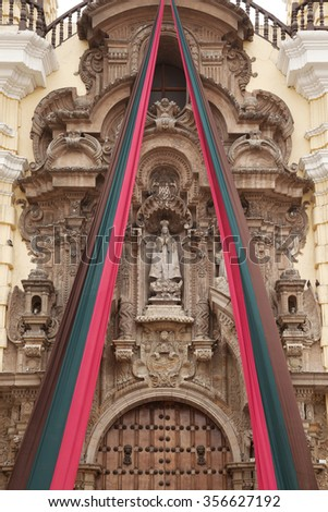 Entrance detail of Monastery of San Francisco in Lima, Peru. The church contains a museum and catacombs which are popular place to visit by tourists. - stock photo