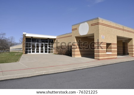 Entrance for a modern elementary school - stock photo